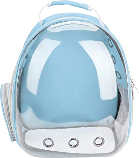 Pet Cat Backpack Capsule Space Bubble Dome Carrier Cage Transparent Breathable Portable Carrying Bag 1Pc (Blue)