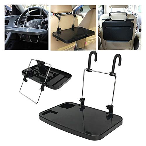 QEEN Folding Car Computer Desk Work Table in Car Laptop Stand Food Tray Drink Holder (Color : Black)