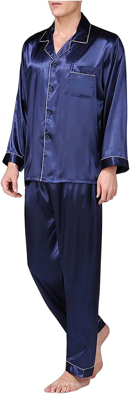 Men's Cardigan Blouse And Trousers Imitation Silk Long Sleeve Pajamas Set Classic Sleepwear Loungewear