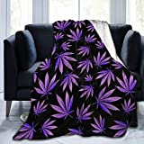 Belgala Blanket Purple Weed Leaves Flannel Fleece Throw Blankets for Baby Kids Men Women,Soft Warm Blankets Queen Size and Throws for Couch Bed Travel Sofa 50'X40'