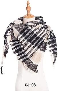 WUNONG-AU Winter Warm Fashion Geometric Graphic Thin Shawl Women Pink Lattice Scarf (Color : Beige, Size : 135cm)