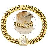 Tobetrendy Cuban Link Hundehalsband, Designer-Goldkette, mit Zirkonia-Verschluss, 14 mm, Metall, Welpenhalsband, luxuriös, glitzernd, für große Hunde (14 mm, 61 cm)