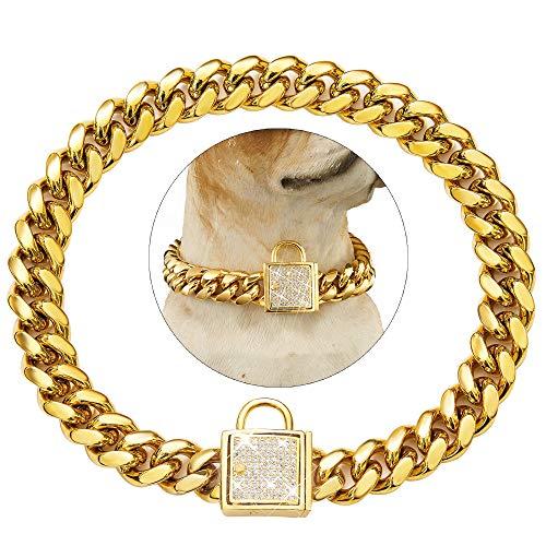 Tobetrendy Cuban Link Dog Collar Designer Gold Chain Collar with Zirconia Locking 14mm Metal Puppy Collar Luxury Dog Bling Necklace(14MM, 12')