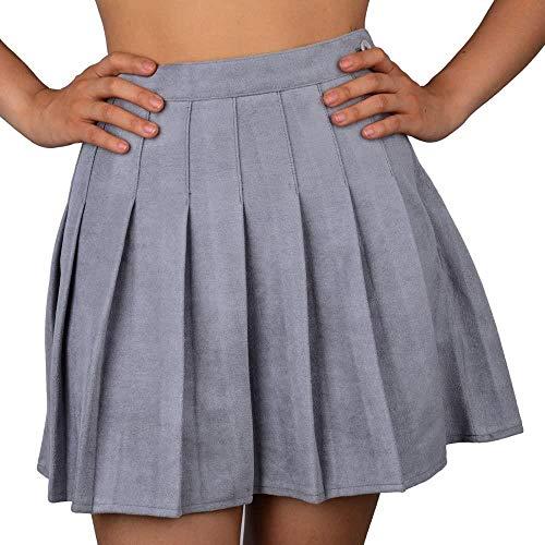 OKM Damen Minifaltenrock mit hoher Taille und weichen Shorts darunter, graues Wildlederimitat, M.