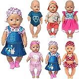 Neu 6 Set Puppenkleider Zubehör für 43cm / 17 Zoll Neugeborene Babypuppen Dazu gehört EIN Jeanskleid Bikini Outfit (Keine Puppe)