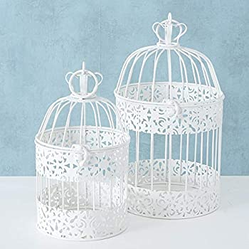 CasaJame Maison mobilier Décoration Accessoires Design Ensemble de 2 Cages à Oiseaux Décoratives Shabby Chic Style Vintage Fer Blanc H26-35cm
