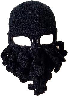c549dbafc03ac Flyou Wig Beard Hats Handmade Knit Warm Winter Caps Ski Funny Mask Beanie  for Men Women