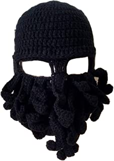 Flyou Wig Beard Hats Handmade Knit Warm Winter Caps Ski Funny Mask Beanie for Men Women