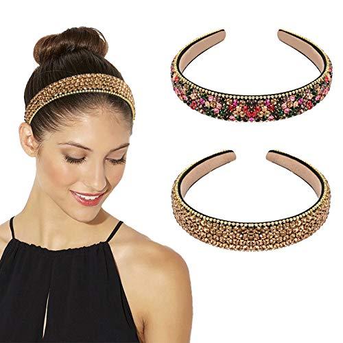 YMHPRIDE 2 diademas de cristal con diamantes de imitación, diadema ancha con purpurina brillante, accesorios para el pelo de cristal para boda, fiesta, graduación, aniversario (colorido / champán)