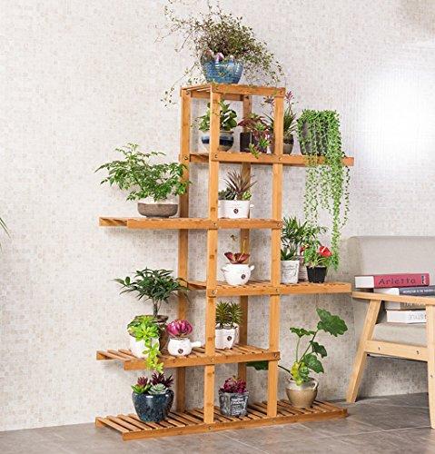 Ensemble de plantes à l'intérieur Rack à fleurs en bambou Présentoir d'étagères à balcon multi-étages