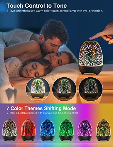 Aiscool Night Light Bluetooth Speaker 3D Glass Bedside Table Lamp Color LED Night Lamp Touch Control Rechargeable Portable (Galaxy-Black) 5