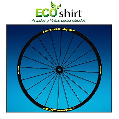 Ecoshirt L2-4AH5-6ESE Pegatinas Stickers Llanta Rim Shimano Deore XT 27,5' Am49 MTB Downhill, Amarillo 26'