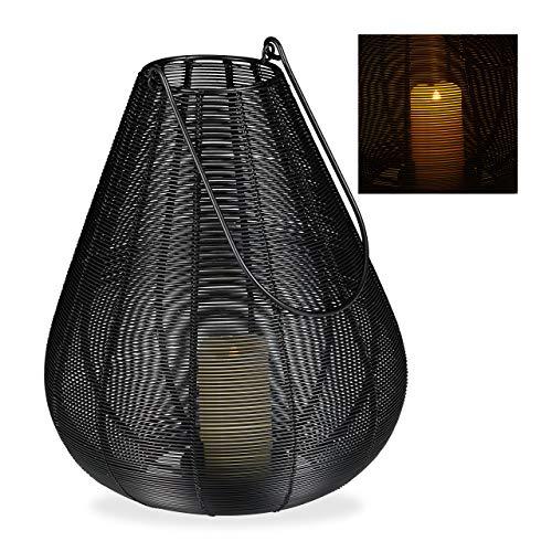 Relaxdays Windlicht Metall, modern, Kerzenhalter für Stumpenkerzen, Deko Laterne Draht, HBT: 31 x 27 x 27 cm, schwarz, 1 Stück