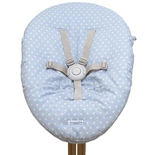 Blausberg Baby - Bezug für Babywippe Nomi Hochstuhl von Evomove - Grau/Touch Hellblau Sterne