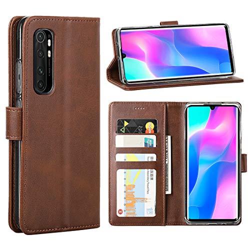 FUNMAX+ für Xiaomi Mi Note 10 Lite Hülle, PU Leder Handyhülle mit 3 Kartenfächer, Schutzhülle Hülle Tasche Magnetverschluss Flip Cover Stoßfest für Mi Note 10 Lite 2020 (Braun)
