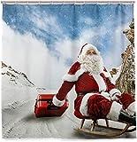 Papá Noel Ski Down The Mountain Cortina de Ducha Tejido de poliéster Impermeable Baño Curtian Decoración de baño