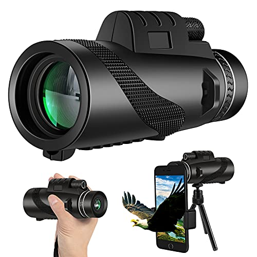 Monocular Telescope, 12X50 High Power Night Vision Monocular Waterproof Monocular with Smartphone Adapter and Quick Phone Holder for Wild Animals, Hunting, Camping, Travelling