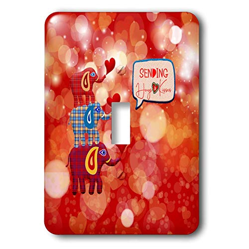 3dRose Beverly Turner Valentine Design - Image of Stacked Plaid Elephants and Hearts, Sending Hugs Heart Kisses - single toggle switch (lsp_306377_1)