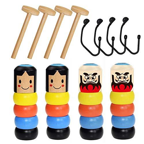 Perfuw 4er Pack Hartnäckiges Spielzeug, Wooden Man Magic Toy, Unzerbrechliches Unsterbliches Daruma Lustiges Spielzeug, Hartnäckiges Mannspielzeug Aus Holz, Zaubertricks, Kids Magia Gift