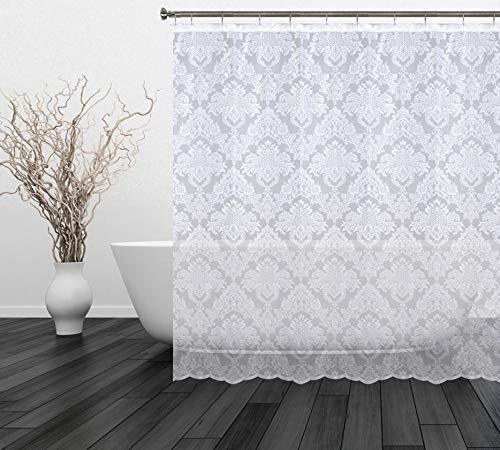 Romance Lace Damask Lace Fabric Shower Curtain, 70 X 72 Long (White)
