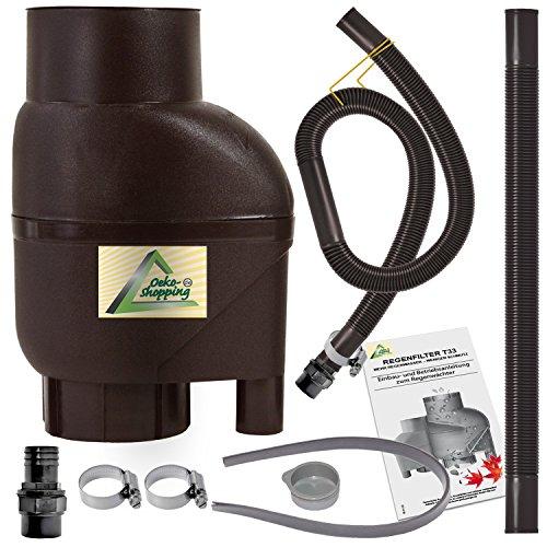 profi-pumpe.de REGENSAMMLER Regenfilter T33 Fallrohrfilter mit Entnahme-Set Filter grau/braun Entnahme-Set, passt für Jede Regentonne und Regenfass (Braun)