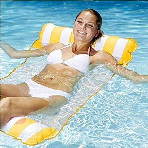 cinsey Aufblasbare HängemattePool Float Lounge Wasserstuhl Hängematte 4-in-1 Luftmatratze Schwimmende Wasser Bett Matte Schwimmstuhl Poolsitze Liege Tragbare Stühle (Gelb+Weiß)
