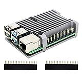 Geekworm Raspberry Pi(ラズベリーパイ) 4 B 用アーマー金属ケース パッシブ冷却/シェル熱放散 ラズベリーパイ4 コンピュ ータモデルB適用 (アーマーケース(ファン無し/グレー))