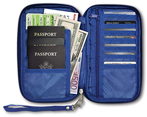 RFID Travel Passport & Document Organizer Zipper Case, Black