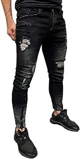 Men's Pants, Skinny Stretch Denim Pants Distressed Ripped Slim Fit Biker Denim Jeans Trousers