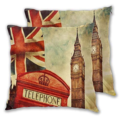 BROWCIN 2 Pack Funda de Almohada Símbolos de Londres Inglaterra Cabina de teléfono roja Big Ben y la Bandera Nacional Union Jack Lino Suave Cuadrado Sofá Cama Decoración Hogar para Cojín 30cm x 30cm