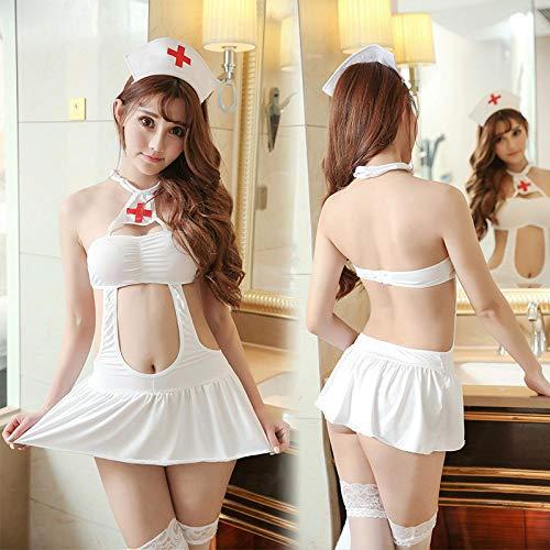 MEN.CLOTHING-LEE Ropa de Dormir para Mujer Conjuntos de lencería para Mujer Sexy Hollow Adult Sexy Lingerie Corset Nurse Uniform Dress Set