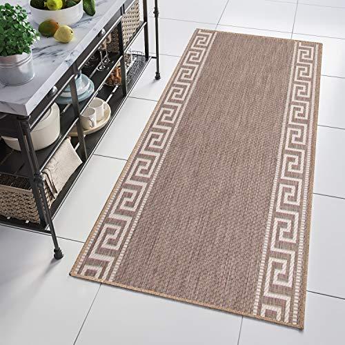 TAPISO Floorlux Teppich Läufer Meterware Flur Küche Wohnzimmer Indoor Sisal Optik Modern Geometrisch Griechisch Beige Taupe Flachgewebe 90 x 280 cm