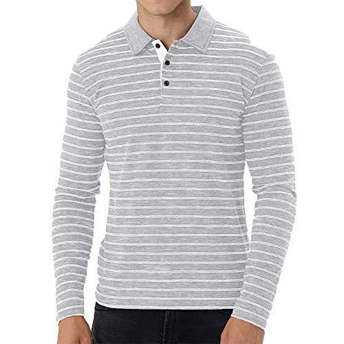 Herren Business Casual Langarm-Poloshirt FrüHling Und Herbst New Lapel Herren-Baumwoll-Langarm-T-Shirt