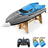 Goolsky Barco RC Control Remoto Barco 30KM / H IPV7 de Alta Velocidad Impermeable 2.4GHz Barco de Carreras de 4 Canales para Niños Adultos (Azul, 2 Batería)