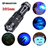 UV Flashlight,Pocket-Sized Black Light Ultraviolet 365/395nm Led Zoomable Torch AA Battery(Not Included) Handheld Flashlight Water Resistant Blacklight Detector for Cosmetics,Cash (395nm)