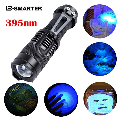 AmyGline UV Ultra Violet LED Taschenlampe Schwarzlicht Licht 395 nM Inspektionslampe Taschenlampe Batterie + Laden