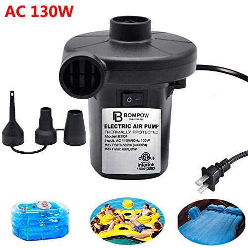 Electric Air Pump for Inflatables Air Mattress Pump Air Bed Pool Toy Raft Boat Quick Electric Air Pump Black (AC Pump(130W))