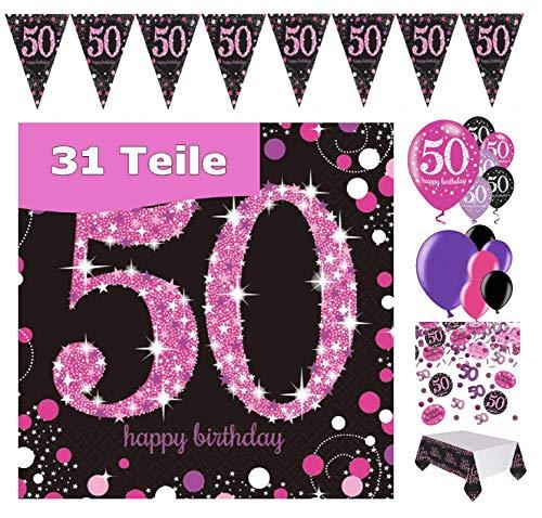 Feestelijke feesten verjaardagsdeco 50e verjaardag 31 delen deco-set luchtballon wimpel slinger confetti servet tafelkleed roze zwart lila metallic party-set