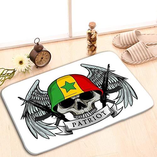 Amanda Walter Alfombrilla Antideslizante Alfombra de Entrada Interior Alfombra Decorativa (23.6 'X15.7') Cráneo Militar Patriota Calavera Senegal Bandera Casco Mili