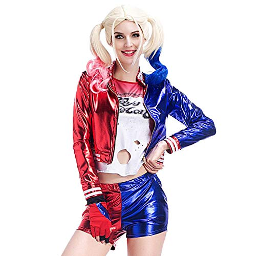 IceyZoey Damen Halloween Party Abendkleid Harley Quinn Cosplay Costume Cloth Suicide Squad Shorts 8392Adult-M