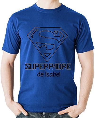 Camiseta Personalizada 'Superpadre' Azul en Todas Las Tallas - Regalo para el Día del Padre, Navidad o su cumpleaños