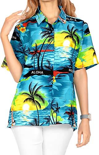 LA LEELA Blusa Playa Hawaiano Ocasional del Bolsillo botón Aloha la Manga Corta de Las Mujeres XXL - ES Tamaño :- 50-52 Azul del Trullo_W932
