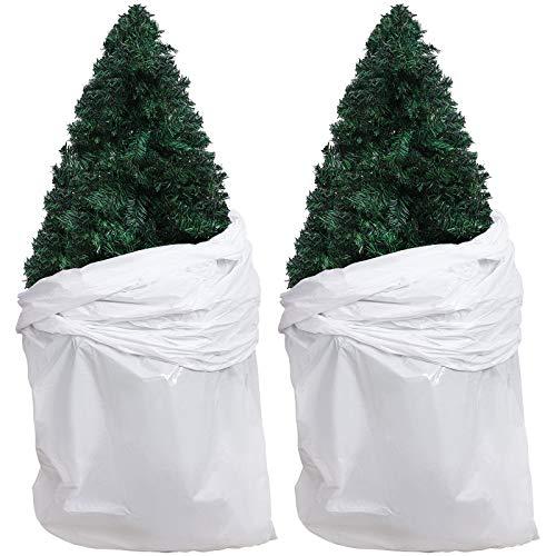URATOT 2 Pack Large Christmas Tree Storage Bag White Removal Bag Plastic Poly Storage Bag, 9 x 4 Feet