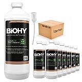 BiOHY Descalcificador universal (12 botellas de 1 litro) + Dosificador | Concentrado para 20 procesos de descalcificación| Compatible con cafeteras, como DELONGHI, PHILIPS (Universal Entkalker)