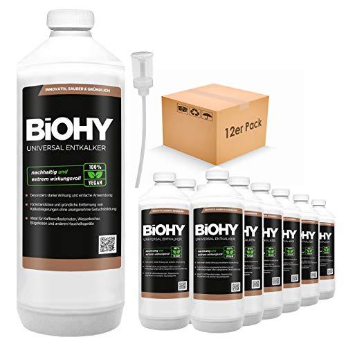 BIOHY universele vloeibare ontkalker 12 x 1 liter flessen + doseerder, concentraat voor ca. 20 ontkalkingsprocessen | voor alle koffieautomaten, espresso- en koffiezetapparaten, zoals Delonghi, Saeco, Philips.