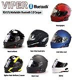 VIPER RS-V171 BLUETOOTH AUFKLAPPBAR VORNE MOTORRAD HELM - Schwarz, Small