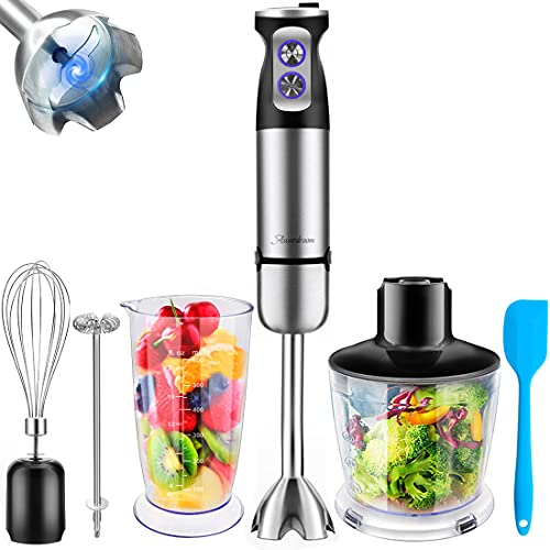 Hand Blender 5-in-1, Multi-Function Immersion Hand Blender Stainless Steel Hand Stick Blender with 500ml Chopping Bowl, Mixing Beaker, Egg Whisk, Milk Frother for Smoothies, Sauces, Soups, Baby Food