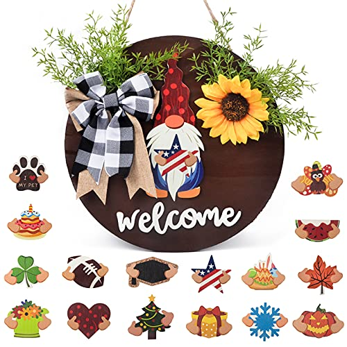 Interchangeable Welcome Sign for Front Door- Seasonal Gnome Welcome Wreath Sign, 16Icons Wooden Round Porch Home Sign Wall Door Hanger Farmhouse Outdoor Decor for Independence Day, Housewarming Gifts
