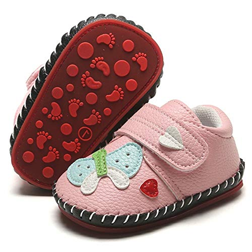 LAFEGEN Baby Boys Girls Walking Shoes Hard Bottom Non Slip PU Leather Outdoor Sneaker Infant Carton Slipper Toddler First Walker Crib Shoes(3-18 Months) Baby Shoes 3-6 Months Infant 01 Butterfly/Pink