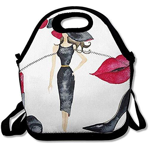 Lunch Bag Parijs Cosmetische Meisjes Aquarel Mascara Meisjes Zwart Gekleurd Jurk Ontwerp Orchidee Herbruikbare Geïsoleerde Lunch Tote